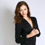 Smiling young woman . emotion happy.  on white backgroun Stock Photos