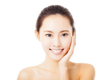 smiling young  woman face isolated on white Royalty Free Stock Photo