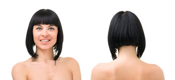 Smiling young woman front and back portrait. Friendly smiling young woman front and back portrait on a white background stock images