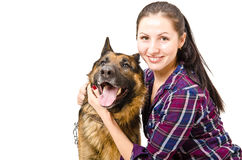 Smiling young woman  and German shepherd Royalty Free Stock Photo