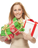Smiling young woman with gift Stock Photo