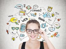 Smiling young woman in glasses, social media stock image