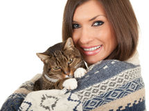 Smiling young woman with grey  cat Stock Images