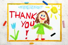 Smiling young woman and hand drawn lettering phrase THANK YOU