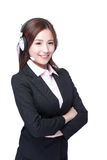 Smiling young woman with headphone. Smiling business woman with headphone isolated white background, asian stock photography