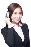 Smiling young woman with headphone. Smiling business woman with headphone isolated white background, asian stock images