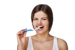 Smiling young woman with healthy teeth Stock Photography