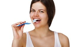 Smiling young woman with healthy teeth Stock Photo