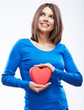 Smiling young woman hold red heart, Valentine day symbol. Girl Royalty Free Stock Image