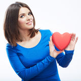 Smiling young woman hold red heart, Valentine day symbol. Girl Stock Photos