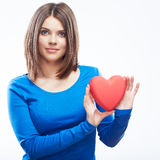 Smiling young woman hold red heart, Valentine day symbol. Girl Royalty Free Stock Photography