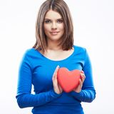 Smiling young woman hold red heart, Valentine day symbol. Girl Royalty Free Stock Photo