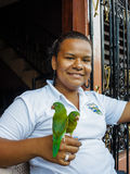 Smiling young woman holding 2 green parrots on her hand Stock Images