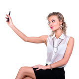 Smiling Young Woman Holding Blank Smart Phone Royalty Free Stock Photos