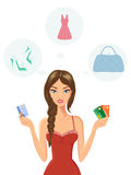 Smiling Young Woman Holding Credit Cards. Vector illustration of smiling young woman holding credit cards and planning fashion shopping Stock Photography