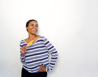 Smiling young woman holding ice cream Royalty Free Stock Photography