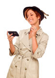 Smiling Young Woman Holding Smart Cell Phone on White Royalty Free Stock Photos