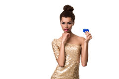 Smiling young woman holding two chips in her hands Stock Photography