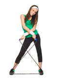 Smiling young woman with jump rope Royalty Free Stock Images