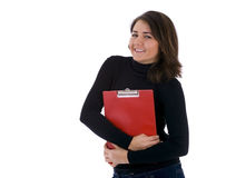 Smiling young woman  keeping red clipboard Stock Photo
