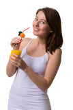 Smiling young woman keeps in hands a glass of orange juice. Smiling young woman keeps in hands a glass of orange juice on white isolated background Stock Images