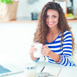 Smiling young woman with laptop in the kitchen at home Royalty Free Stock Image