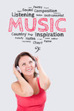 Smiling young woman is listening to music under the emotions bub stock images