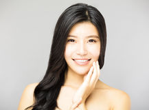 Smiling young Woman with Long and Black  Hair. Smiling asian young Woman with Long and Black  Hair Royalty Free Stock Photo