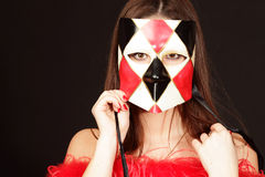 Smiling young woman in mask Royalty Free Stock Photography