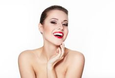 Smiling young woman model with glamour red lips Royalty Free Stock Image