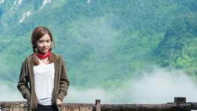 Smiling young woman With  Montains Background Royalty Free Stock Images