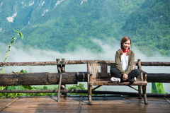 Smiling young woman With  Montains Background Royalty Free Stock Photography