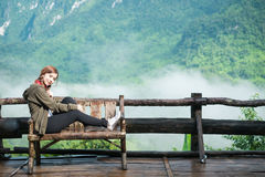 Smiling young woman With  Montains Background Royalty Free Stock Image