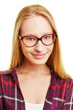 Smiling young woman with nerd glasses Royalty Free Stock Photos