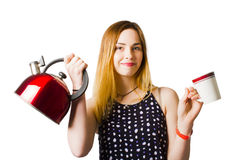 Smiling young woman offering cuppa coffee Royalty Free Stock Images
