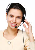 Smiling young woman - operator. Royalty Free Stock Photography