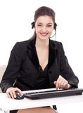 Smiling young woman - operator Stock Images