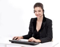 Smiling young woman - operator Royalty Free Stock Images