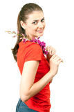 Smiling young woman with orchid Royalty Free Stock Photo