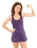 Smiling young woman with raised arm Royalty Free Stock Photo