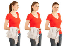 Smiling young woman in red blouse Stock Photography
