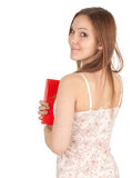 Smiling young woman with red book Royalty Free Stock Image