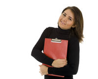 Smiling young woman with red clipboard Royalty Free Stock Images