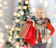 Smiling young woman with red shopping bags Royalty Free Stock Photography