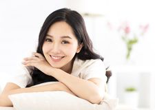 Young woman relax on the sofa royalty free stock photo