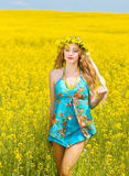 Smiling young woman  relaxing outdoor Royalty Free Stock Photos