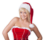 Smiling young woman in Santa Claus clothes Royalty Free Stock Photo