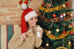 Smiling young woman in santa hat with hot cocoa drink on Christm Stock Photography