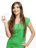 Smiling young  woman showing blank card Stock Images