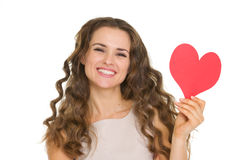 Smiling young woman showing valentines day cards Stock Photography